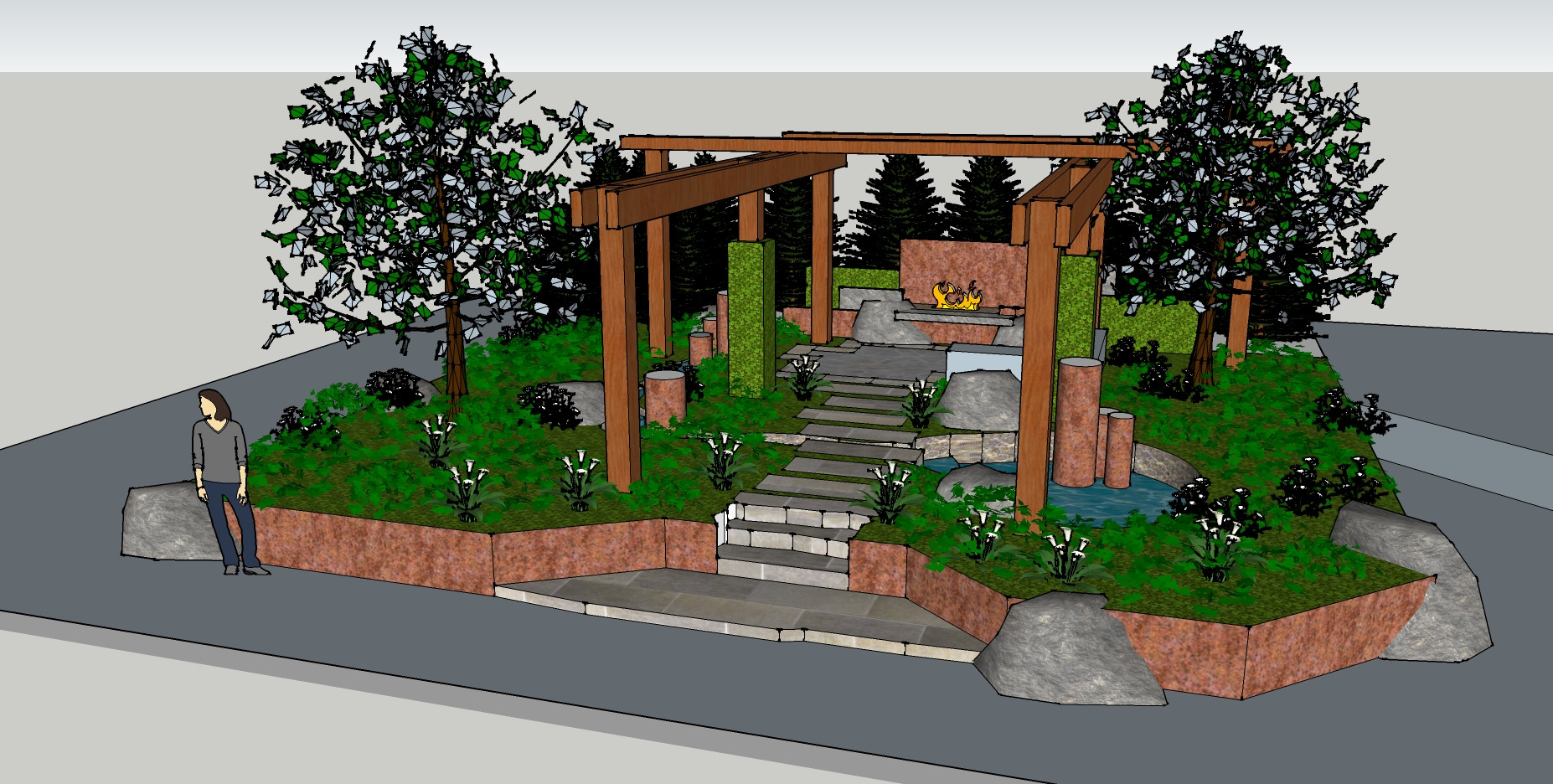 Sample Front Elevation Landscaping : Glass art landscape jewelry the personal garden coach